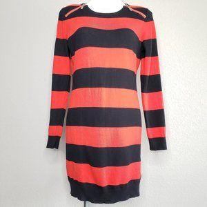 Michael Kors | Black Red Striped Sweater Dress L